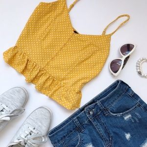 Forever21 polka dots mustard yellow top